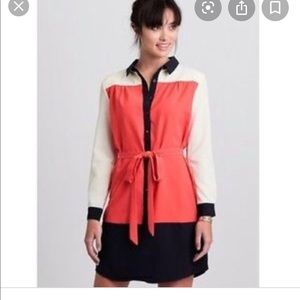 Anthropologie Maeve Colorblock Shirt Dress